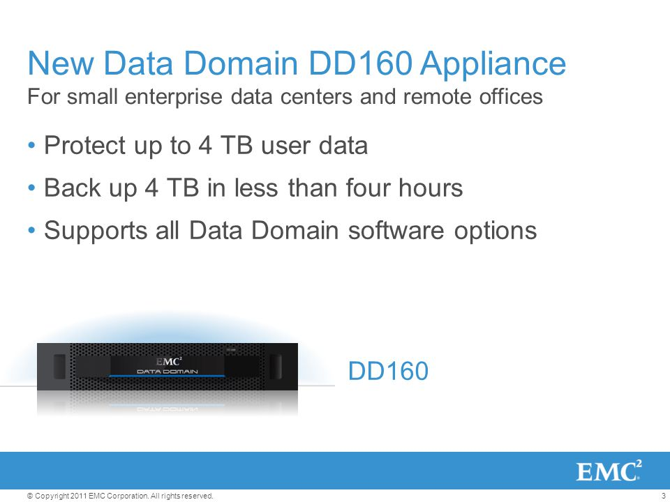 New Data Domain DD160 Appliance