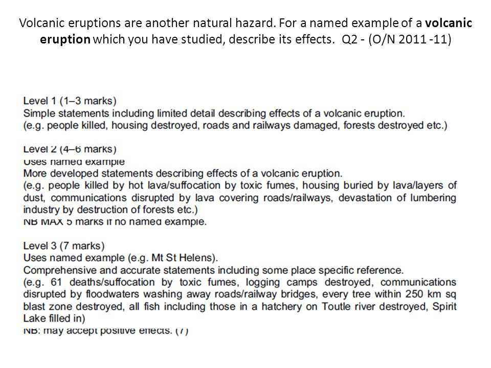 Volcanic eruptions are another natural hazard