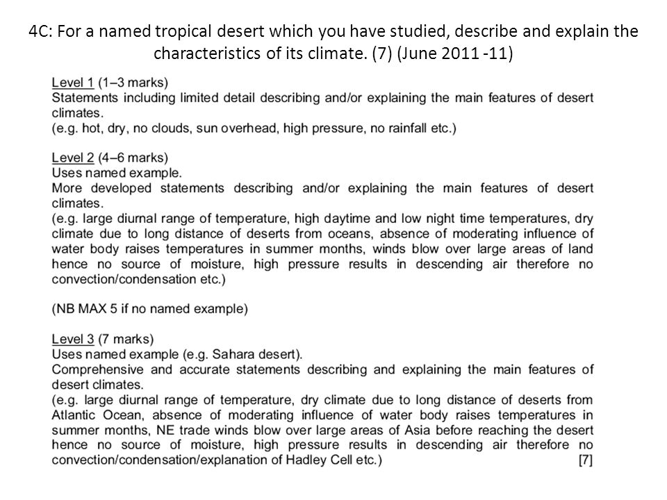 4C: For a named tropical desert which you have studied, describe and explain the characteristics of its climate. (7) (June 2011 -11)