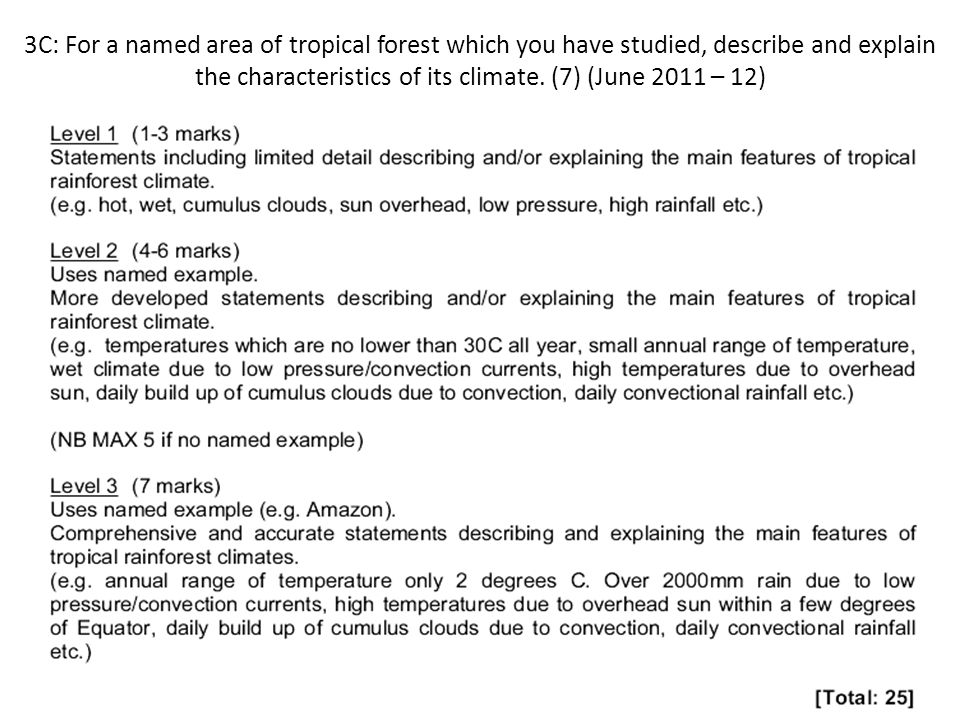 3C: For a named area of tropical forest which you have studied, describe and explain the characteristics of its climate. (7) (June 2011 – 12)