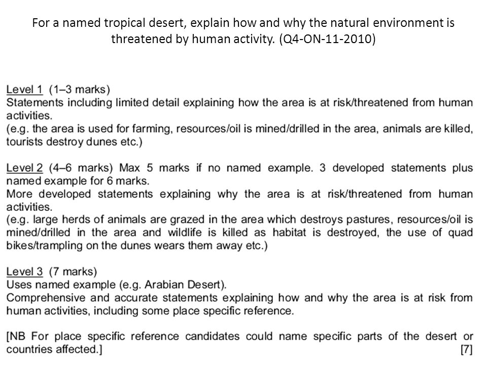 For a named tropical desert, explain how and why the natural environment is threatened by human activity. (Q4-ON-11-2010)