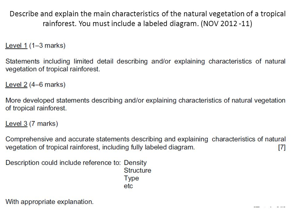 Describe and explain the main characteristics of the natural vegetation of a tropical rainforest. You must include a labeled diagram. (NOV 2012 -11)
