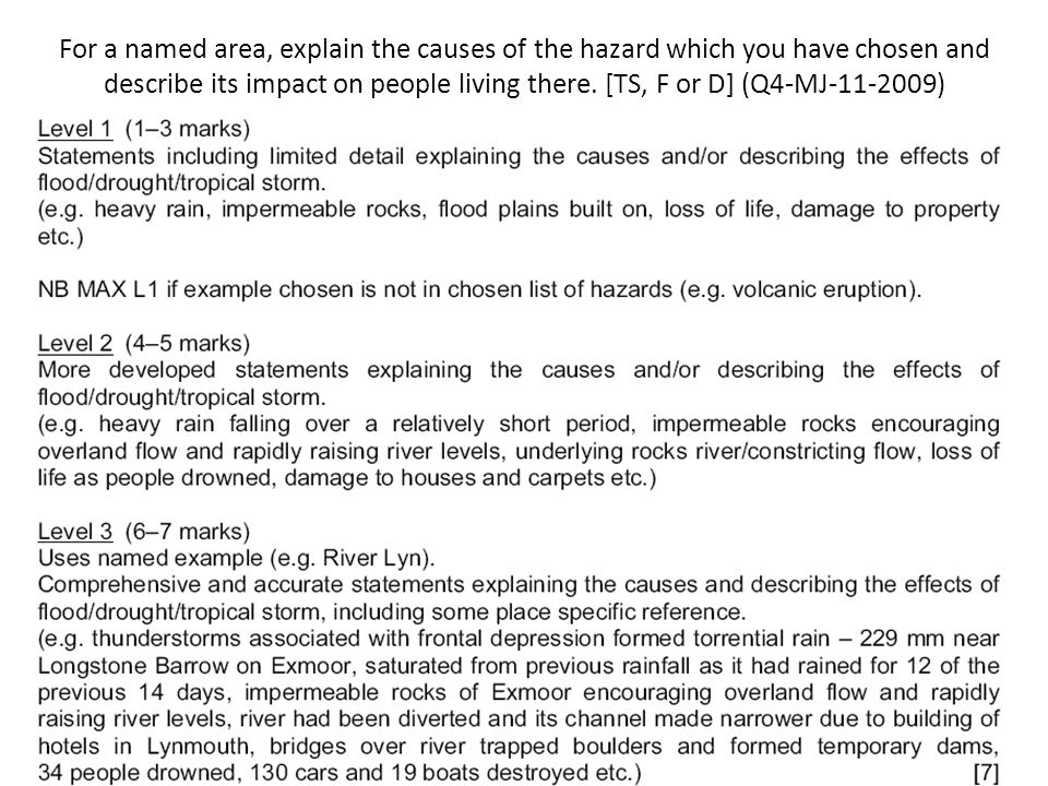 For a named area, explain the causes of the hazard which you have chosen and describe its impact on people living there.