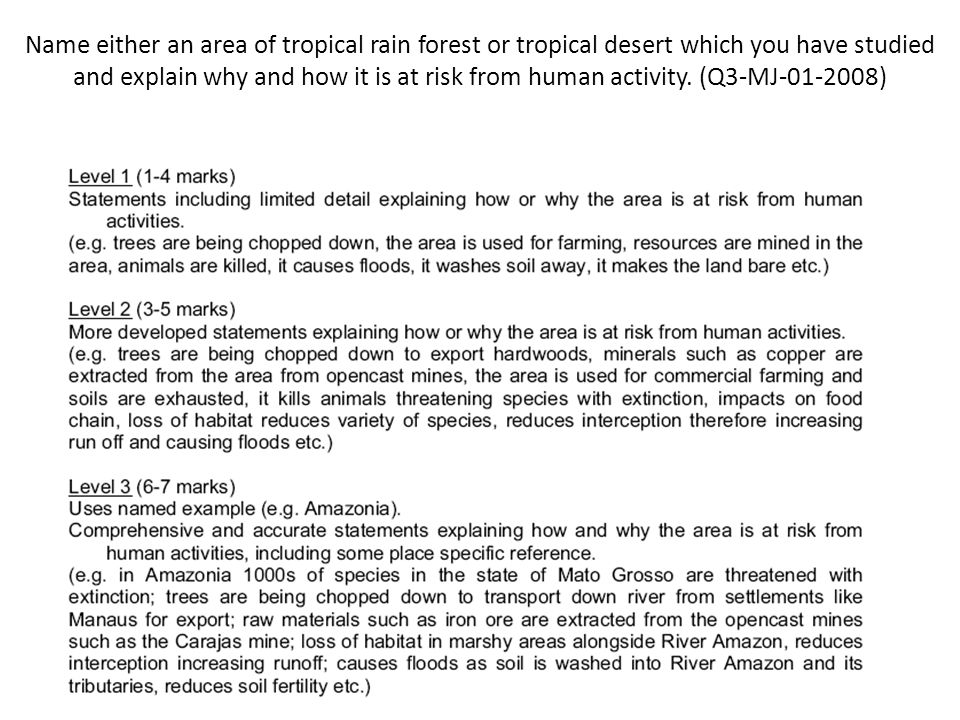 Name either an area of tropical rain forest or tropical desert which you have studied and explain why and how it is at risk from human activity.