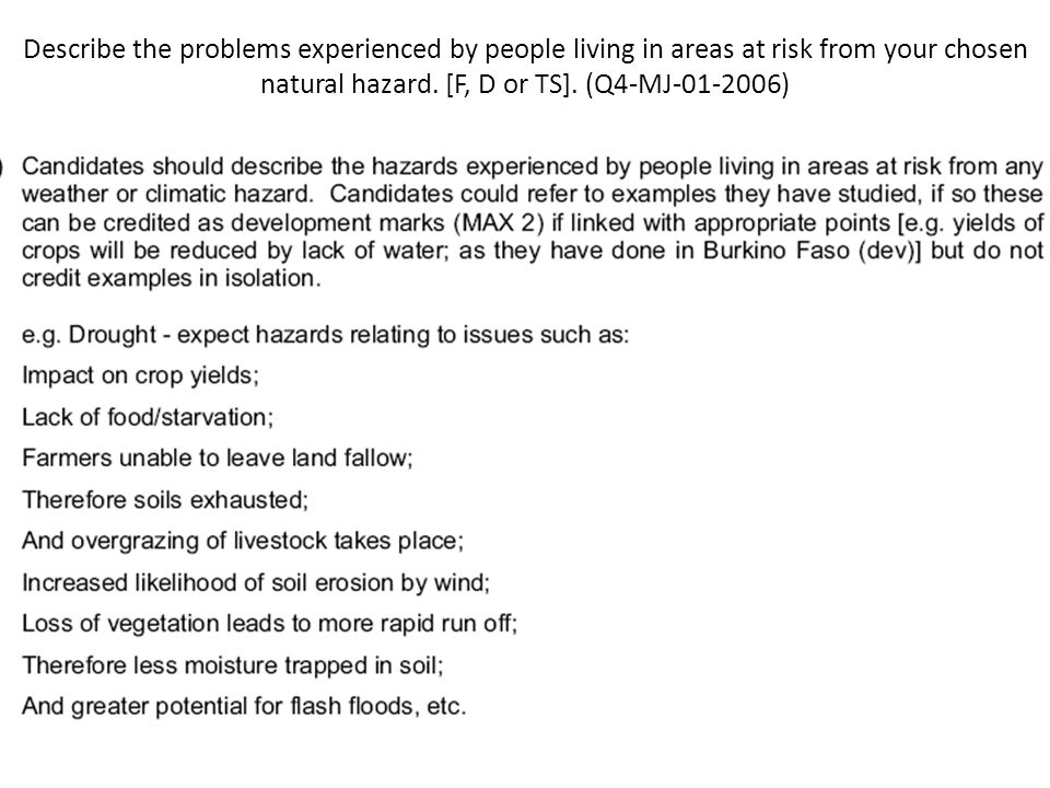Describe the problems experienced by people living in areas at risk from your chosen natural hazard.