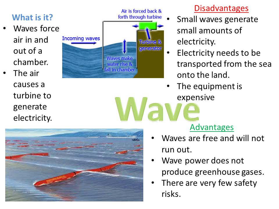 Wave Disadvantages Small waves generate small amounts of electricity.