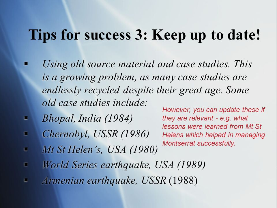 Tips for success 3: Keep up to date!