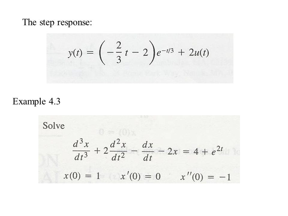 The step response: Example 4.3