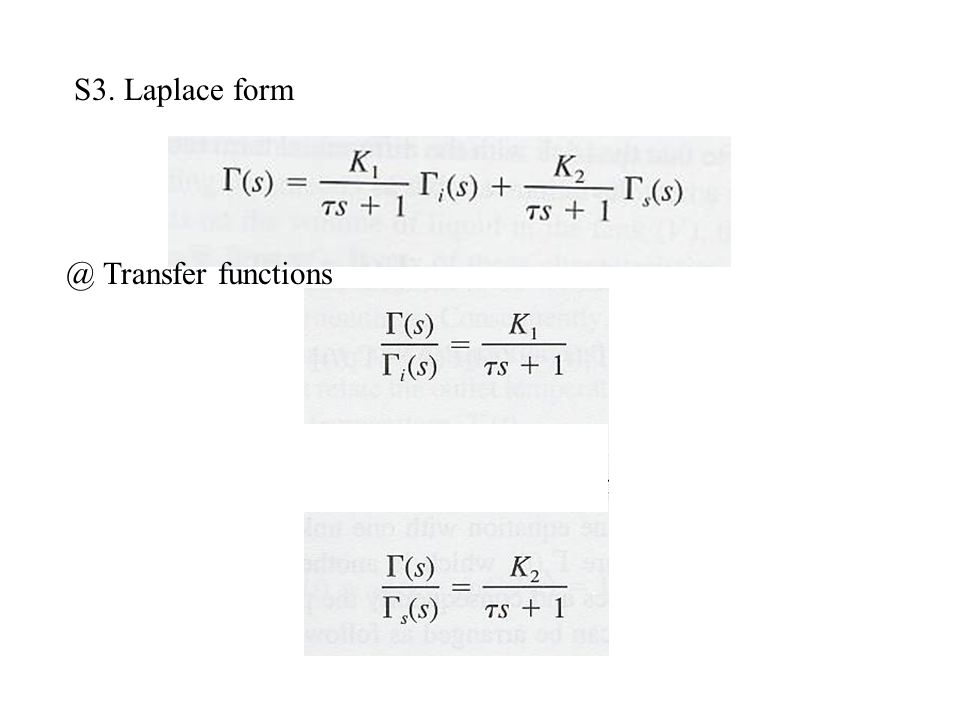 S3. Laplace Transfer functions