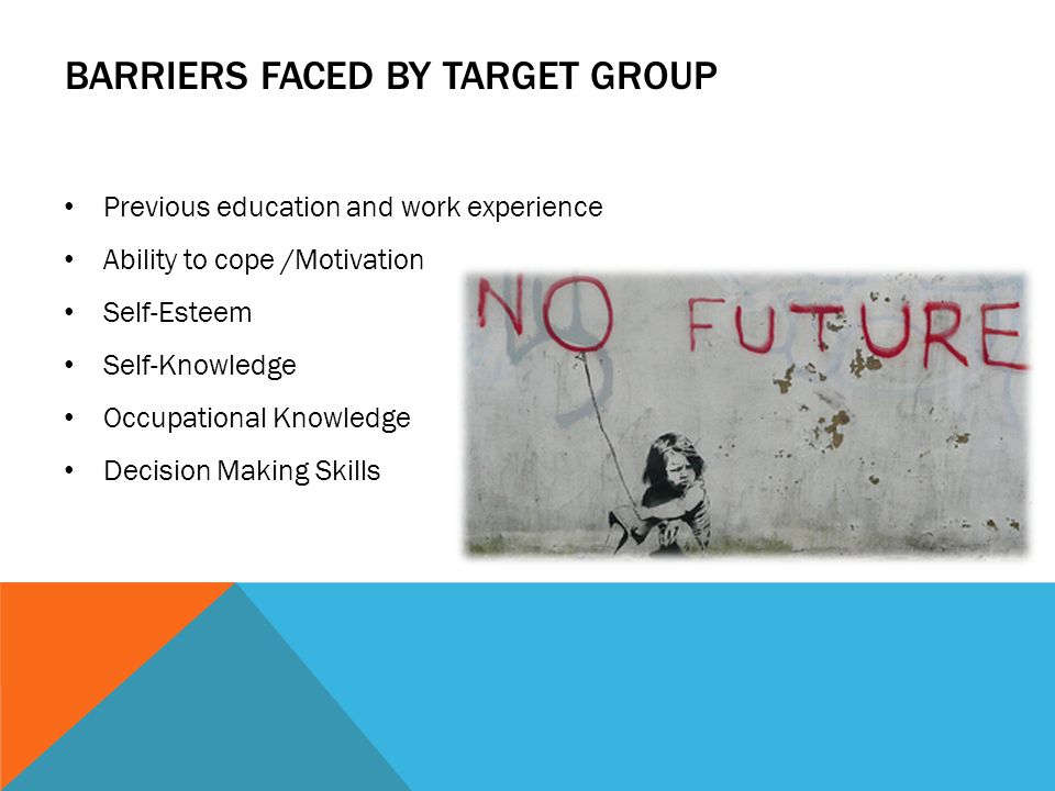 Barriers faced by target group