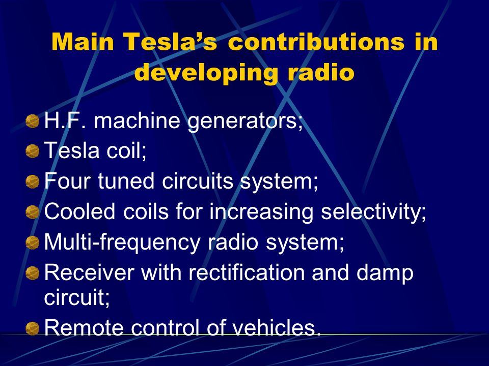 Main Tesla's contributions in developing radio