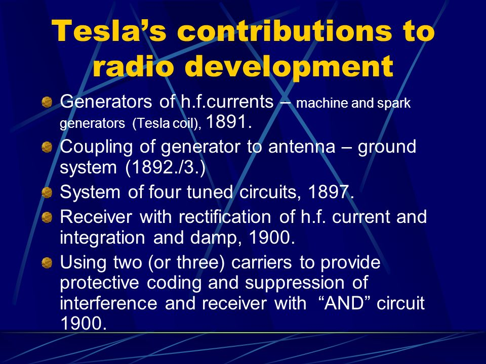 Tesla's contributions to radio development