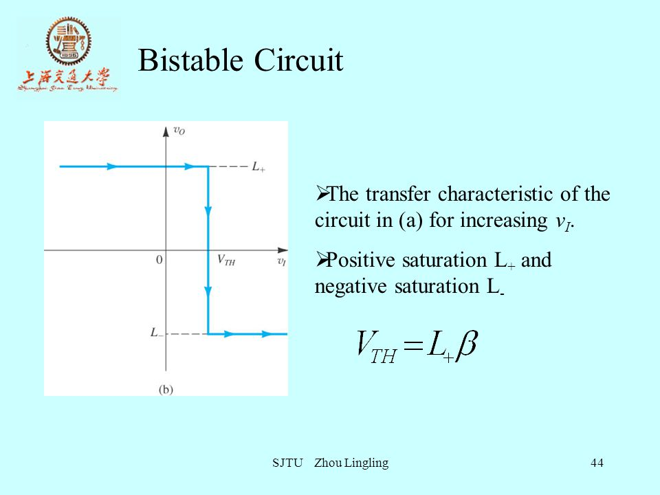 Bistable Circuit The transfer characteristic of the circuit in (a) for increasing vI. Positive saturation L+ and negative saturation L-