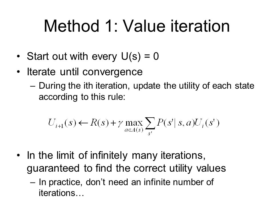 Method 1: Value iteration