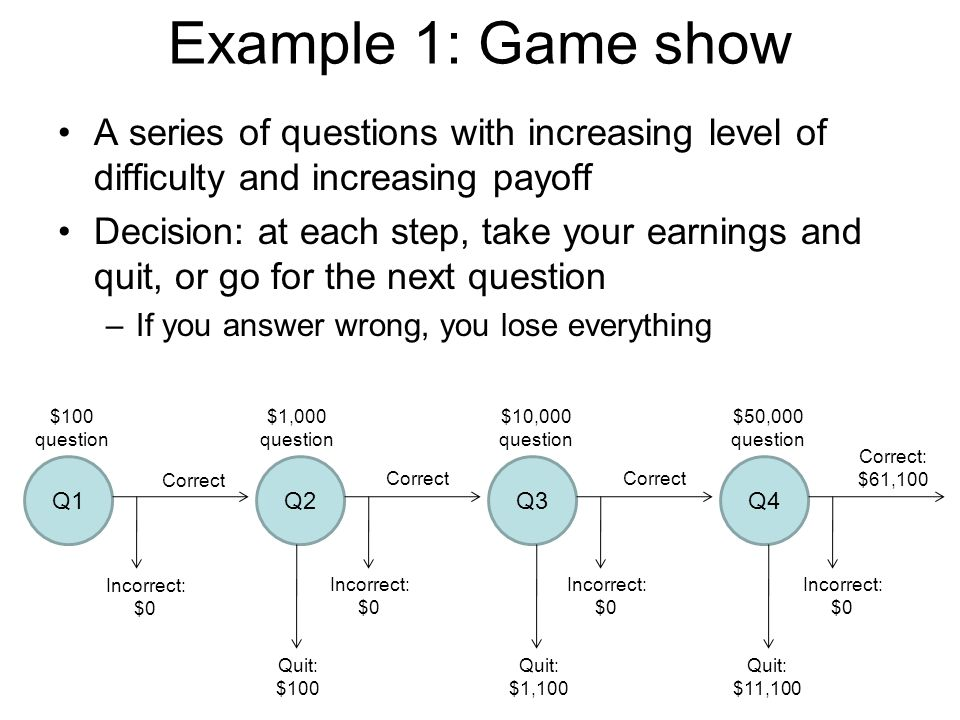 Example 1: Game show A series of questions with increasing level of difficulty and increasing payoff.
