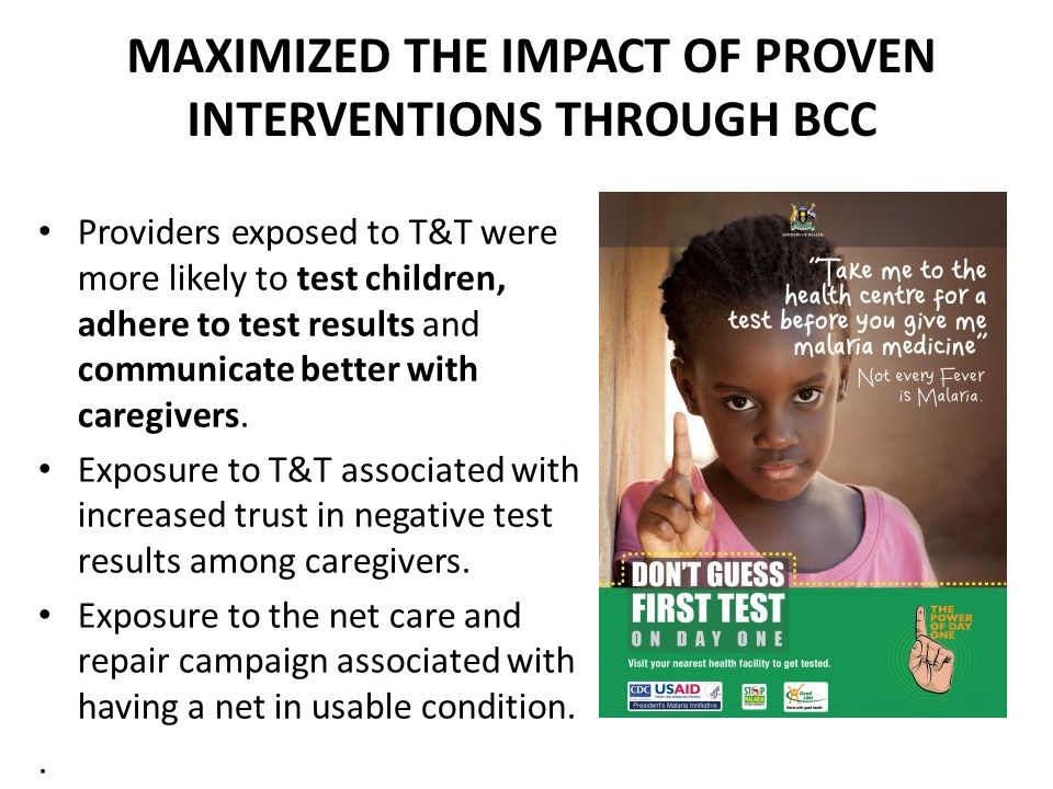 MAXIMIZED THE IMPACT OF PROVEN INTERVENTIONS THROUGH BCC