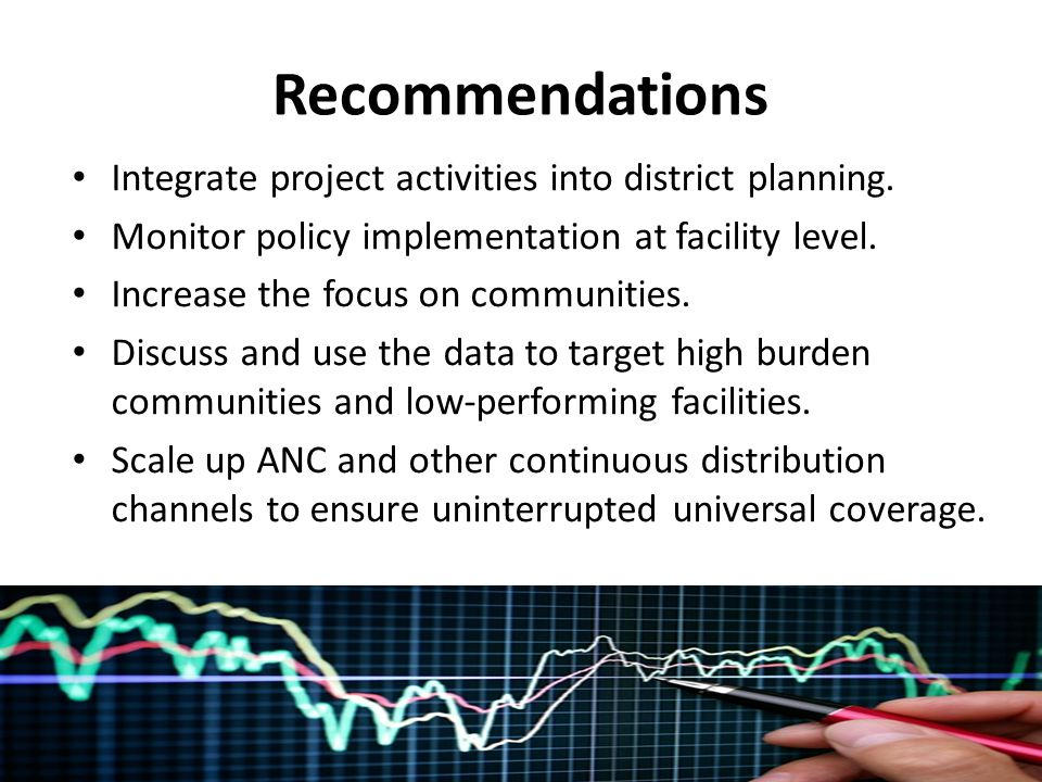 Recommendations Integrate project activities into district planning.