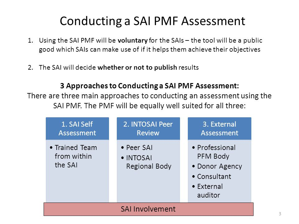 3 Approaches to Conducting a SAI PMF Assessment:
