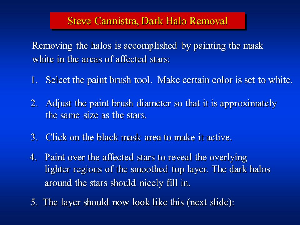 Steve Cannistra, Dark Halo Removal