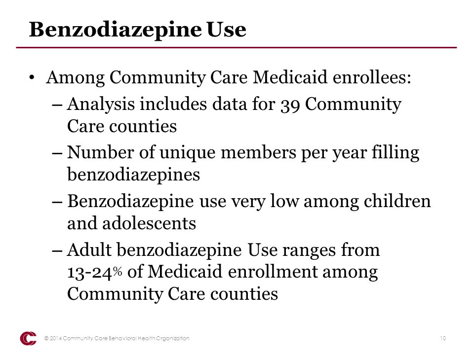 Benzodiazepine Use Among Community Care Medicaid enrollees: