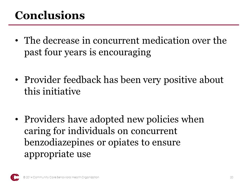 Conclusions The decrease in concurrent medication over the past four years is encouraging.
