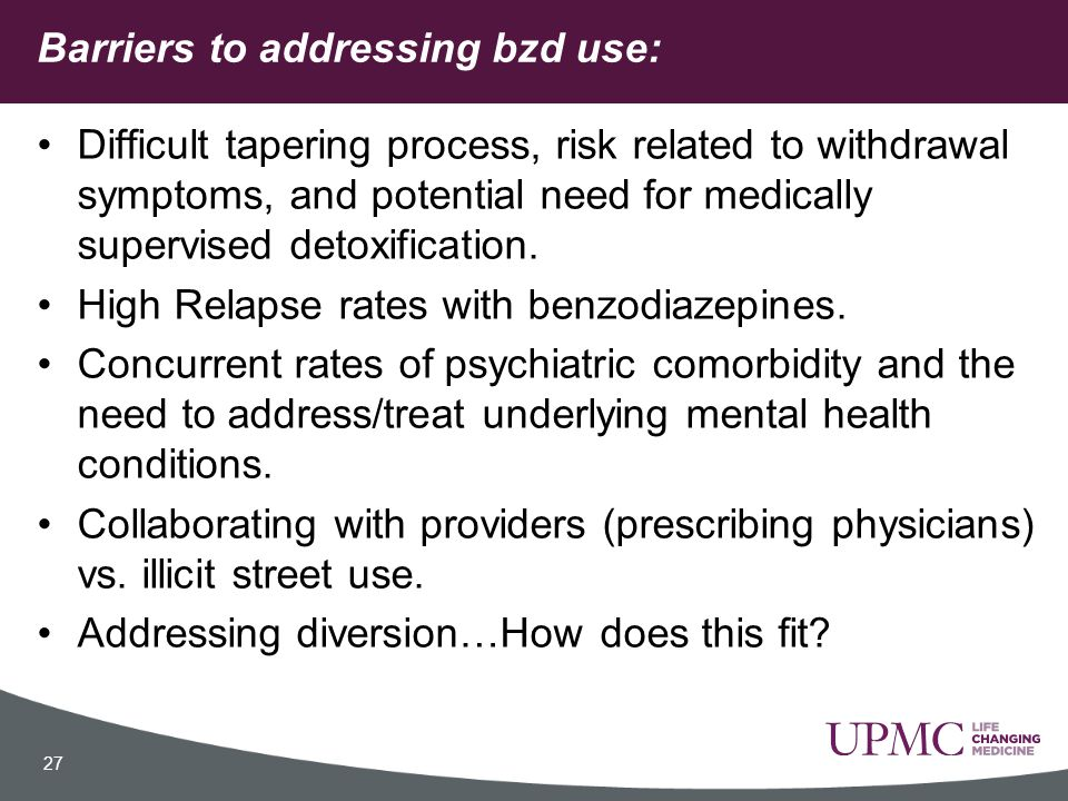 Barriers to addressing bzd use: