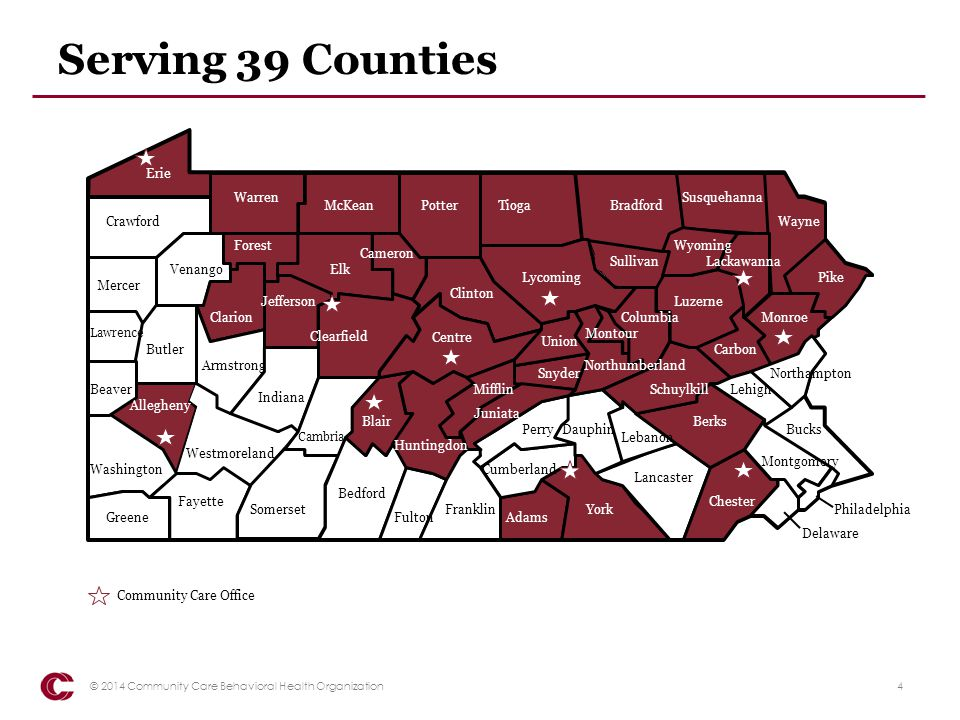 Serving 39 Counties Pike Erie Warren Susquehanna McKean Potter Tioga