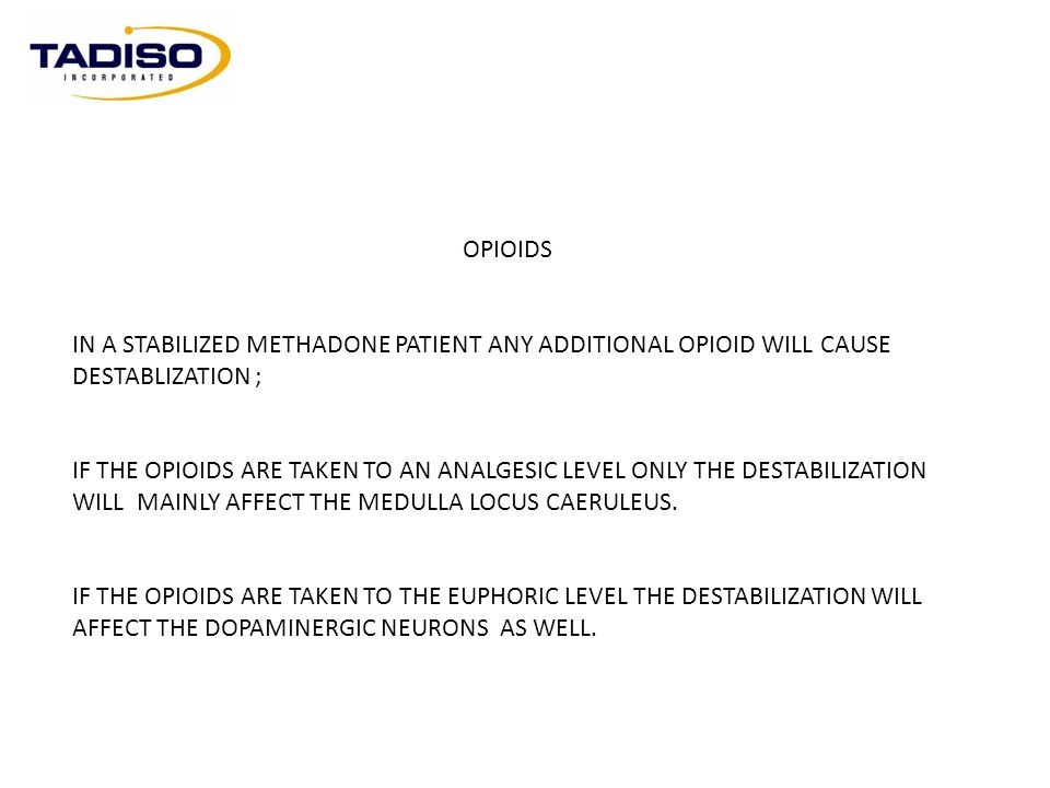 OPIOIDS IN A STABILIZED METHADONE PATIENT ANY ADDITIONAL OPIOID WILL CAUSE DESTABLIZATION ;