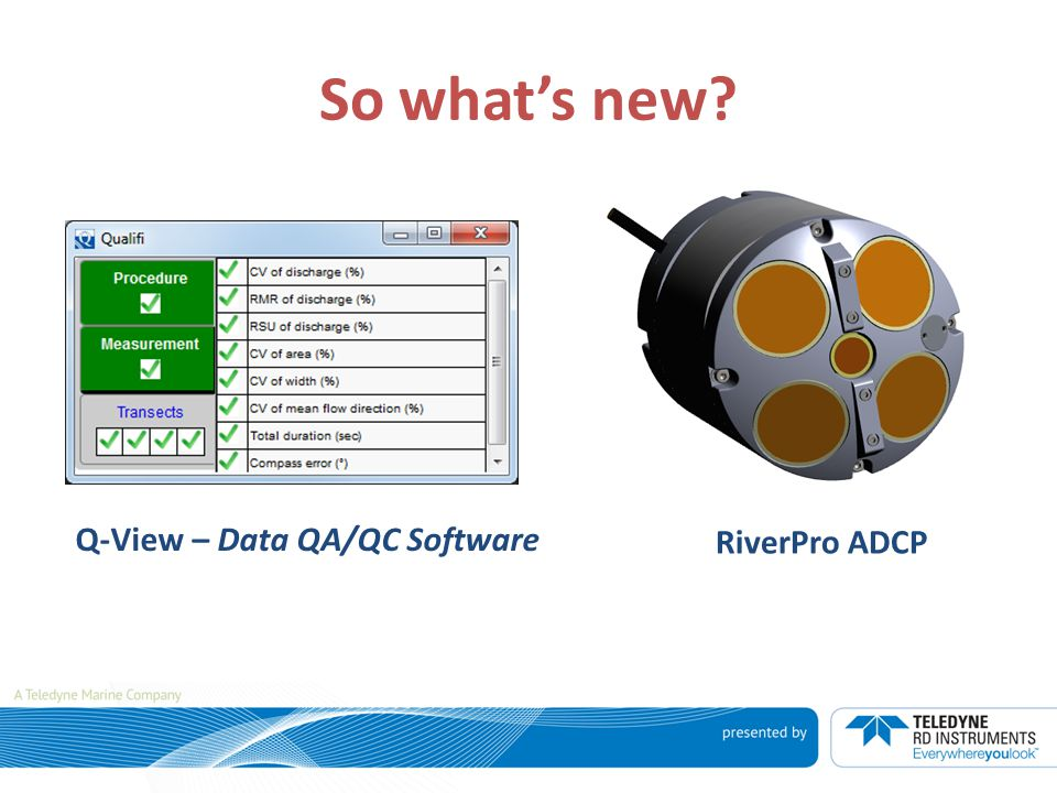 So what's new Q-View – Data QA/QC Software RiverPro ADCP