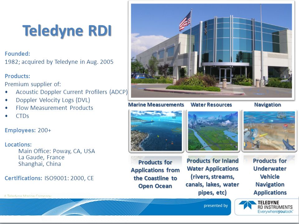 Teledyne RDI Founded: 1982; acquired by Teledyne in Aug. 2005
