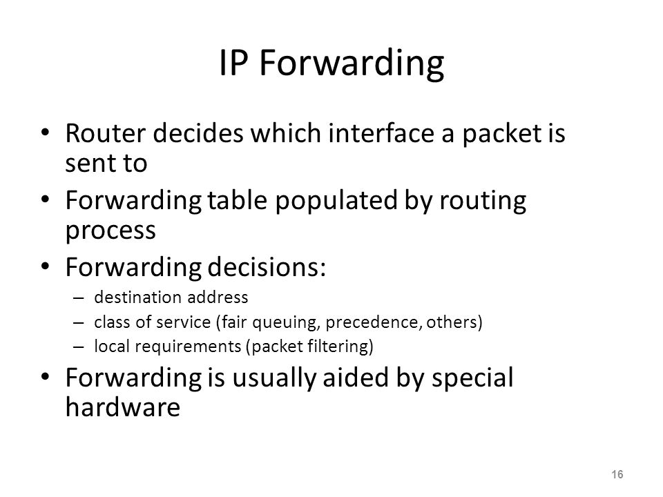IP Forwarding Router decides which interface a packet is sent to