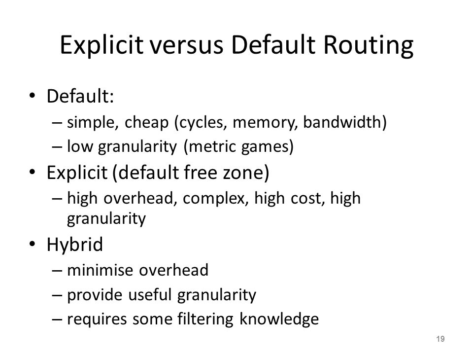 Explicit versus Default Routing