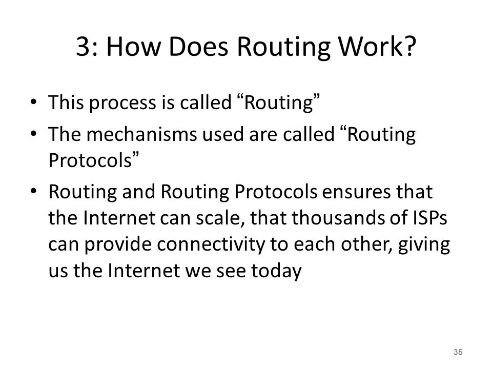 3: How Does Routing Work This process is called Routing