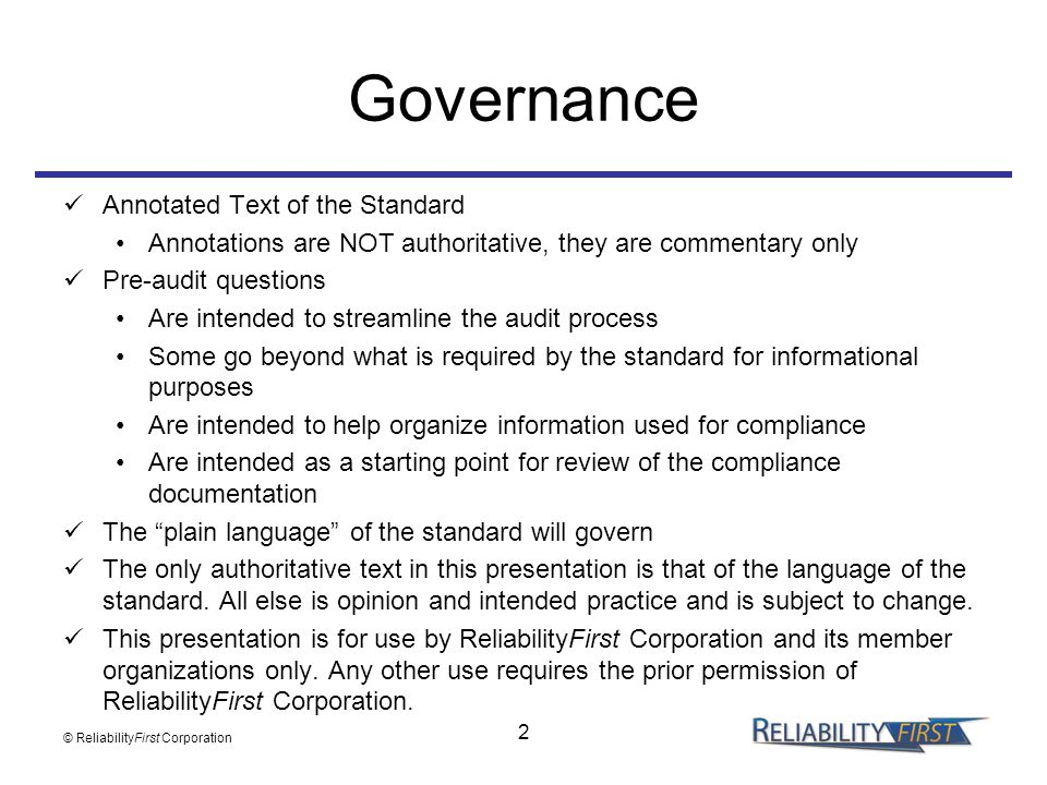 Governance Annotated Text of the Standard