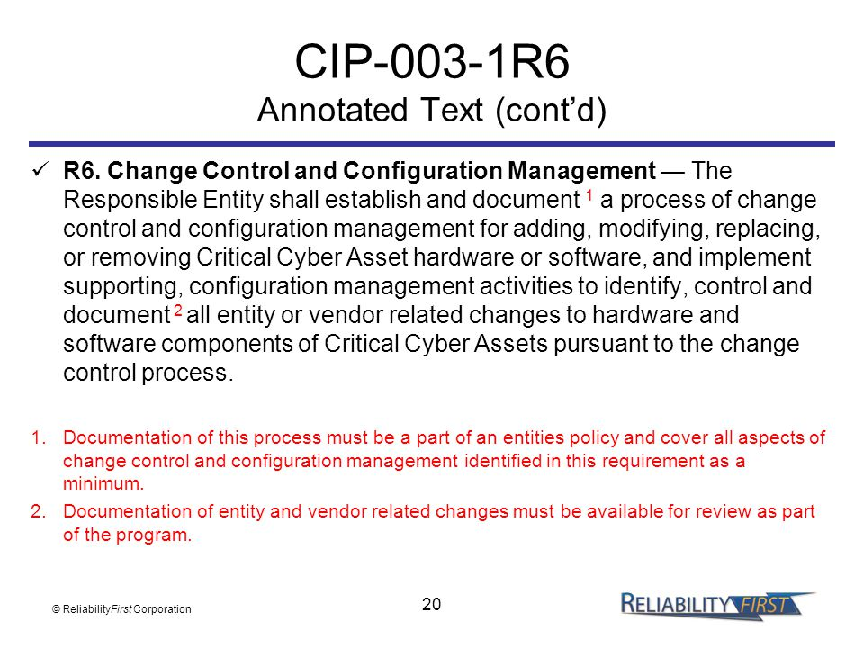 CIP-003-1R6 Annotated Text (cont'd)