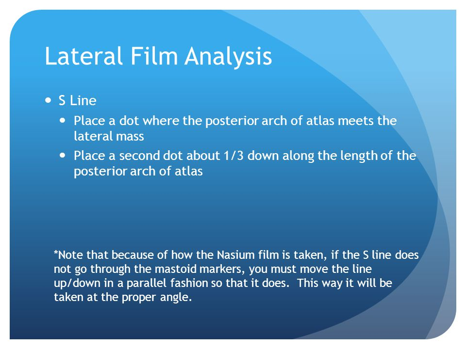 Lateral Film Analysis S Line