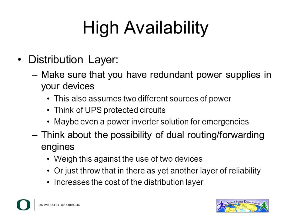 High Availability Distribution Layer: