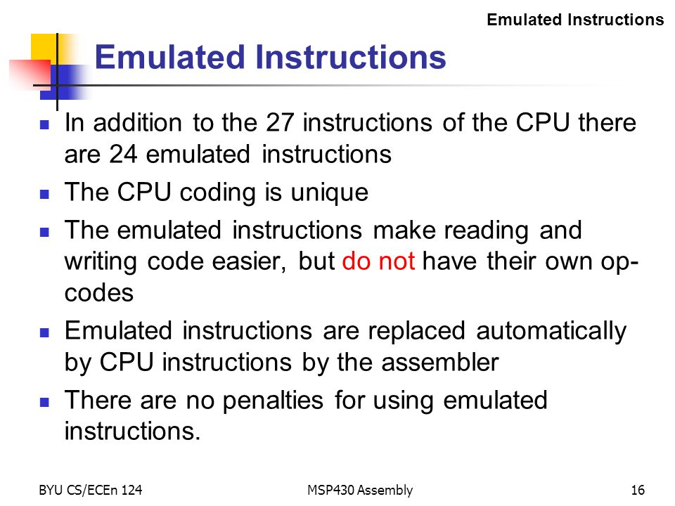 Emulated Instructions