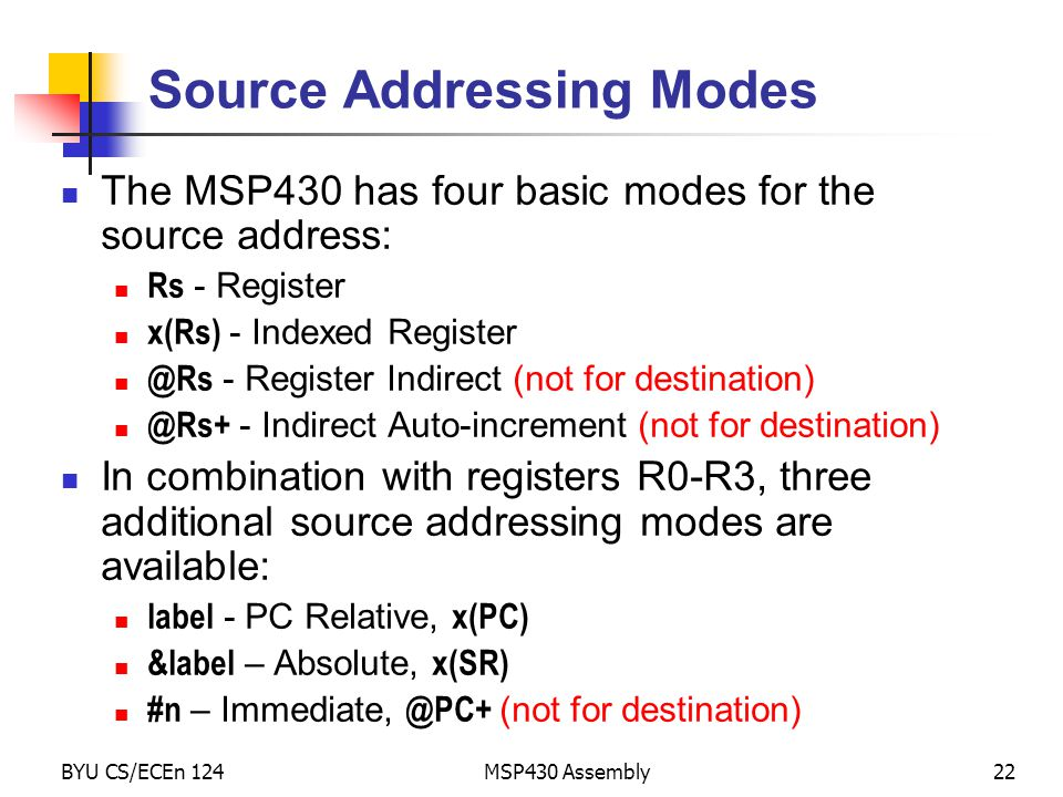 Source Addressing Modes