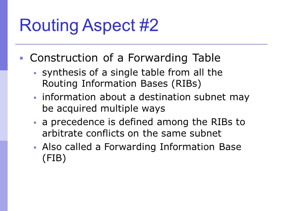 Routing Aspect #2 Construction of a Forwarding Table