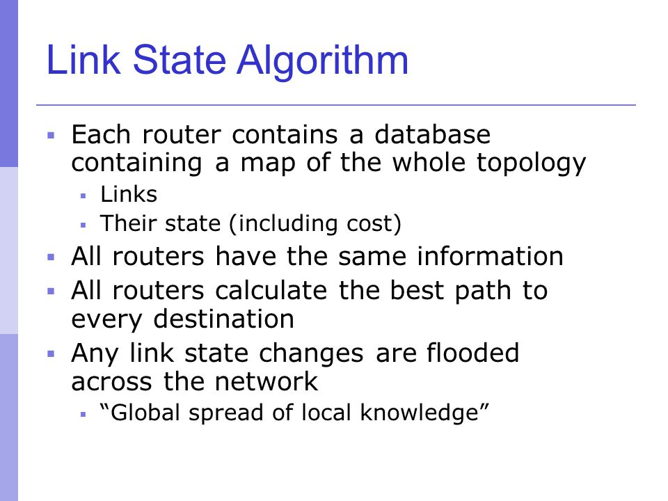 Link State Algorithm Each router contains a database containing a map of the whole topology. Links.