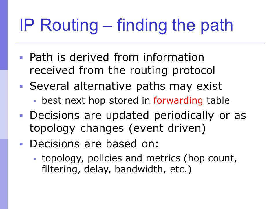 IP Routing – finding the path