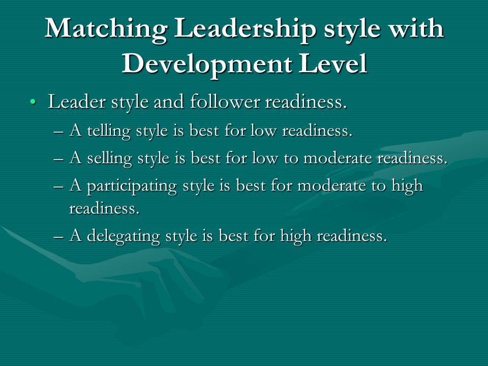 Matching Leadership style with Development Level