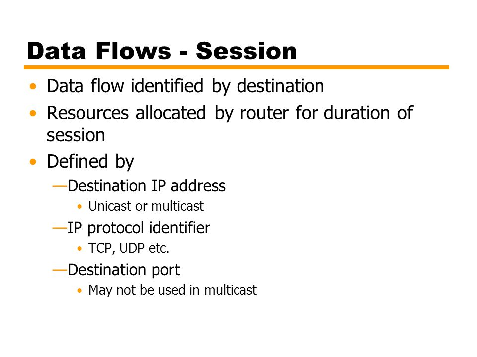 Data Flows - Session Data flow identified by destination