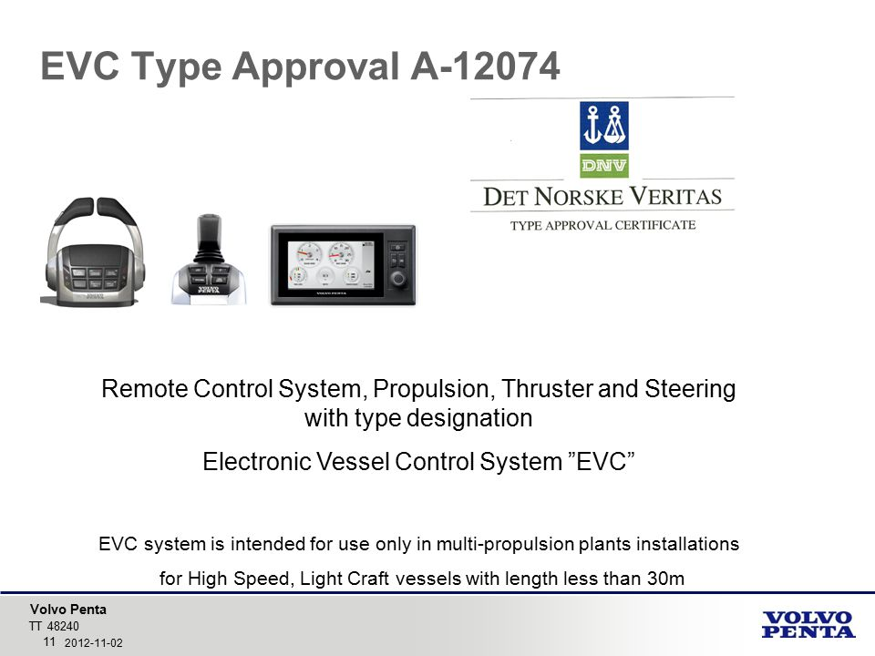 EVC Type Approval A-12074 Remote Control System, Propulsion, Thruster and Steering with type designation.