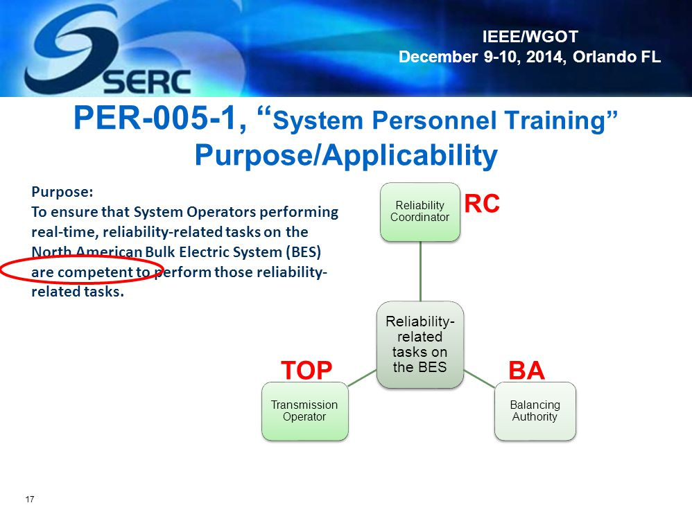 PER-005-1, System Personnel Training Purpose/Applicability