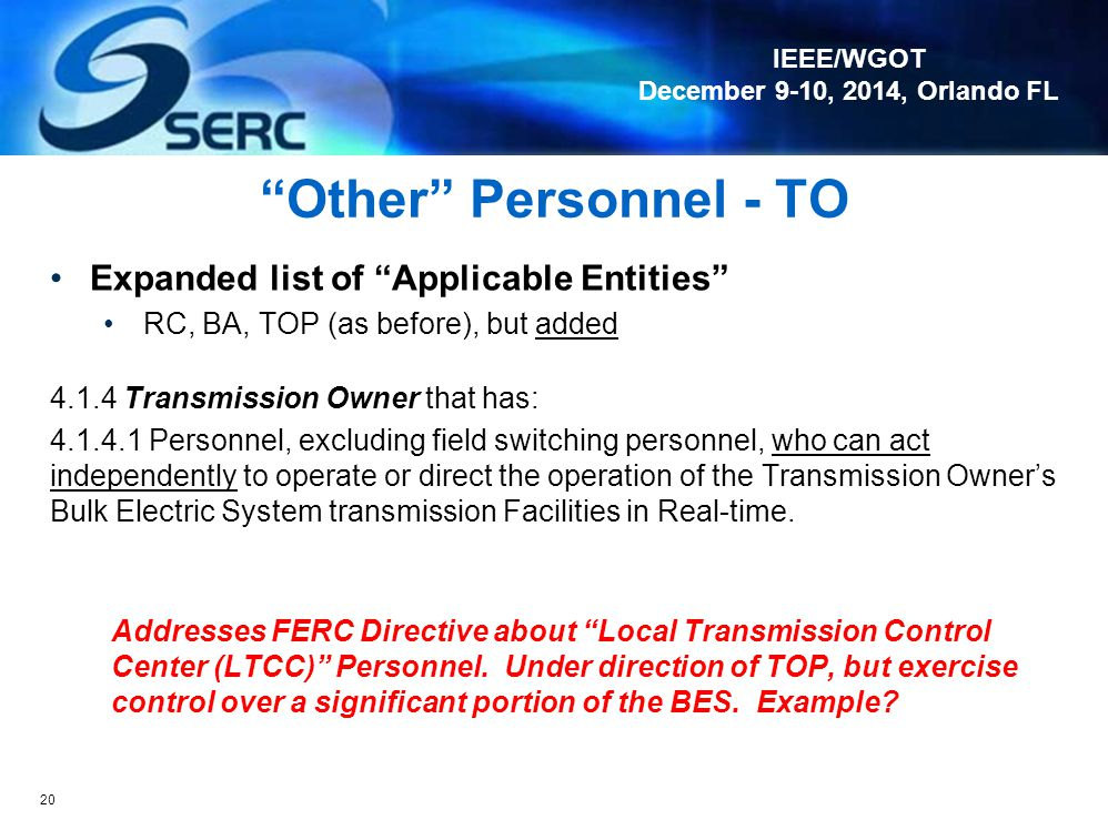 Other Personnel - TO Expanded list of Applicable Entities
