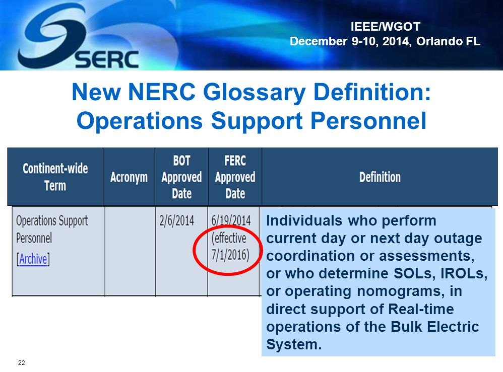 New NERC Glossary Definition: Operations Support Personnel