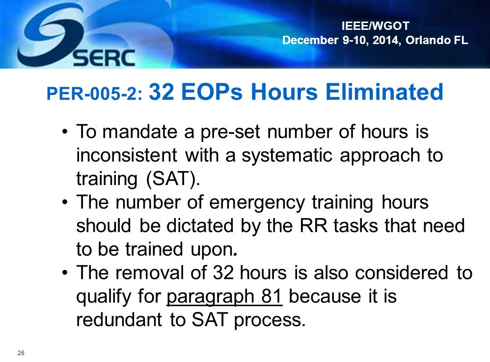 PER-005-2: 32 EOPs Hours Eliminated