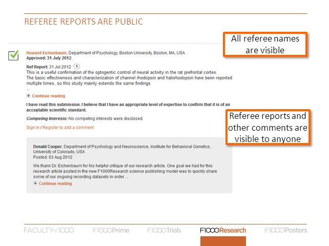 REFEREE reports are public